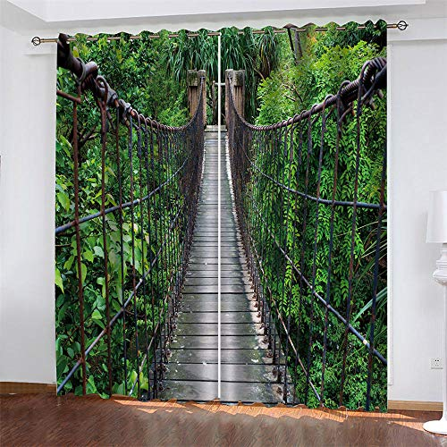 LLKKCX Cortinas Opacas Resistente al Calor y La Luz Reducción de Ruido Verde Cortinas Opacas-3D Puente Colgante impresión,para Salón Dormitorio/Oficina,2x110x215cm(Ancho x Alto)