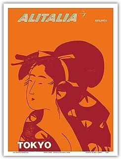 東京、日本 - 芸者 - アリタリア航空 - ビンテージな航空会社のポスター c.1960s - アートポスター - 23cm x 31cm