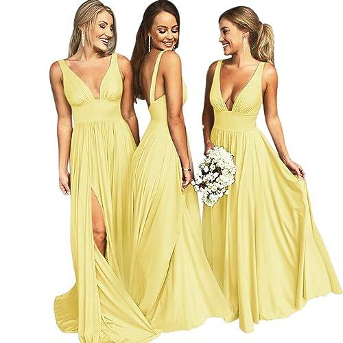 aa88f93ff3bcc VinBridal V-Neck Backless Long Slit Side Beach Wedding Bridesmaid Dresses