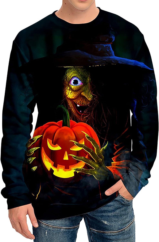 Bravetoshop Men's Halloween 3D Printed Sweatshirt Novelty Graphic Crewneck Long Sleeve Pullover Tops