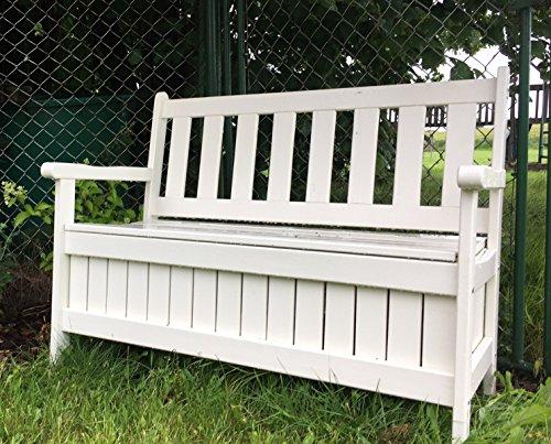 GartenDepot24 hochwertige stabile Kissenbox Bank aus Holz mit Truhe, weiß, B114 x T56 x H89 cm