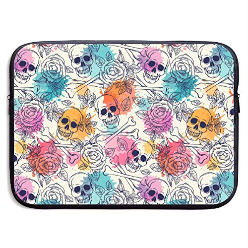 Skull and Roses Laptop Carrying Case Waterproof Laptop Sleeve, Laptop Sleeve Bag Neoprene Handbag Protective Bag Cover Case for 13'' 15