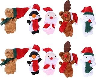 BESTOYARD 10pcs Christmas Finger Puppets Santa Elk Sonowman Educational Finger Puppets Dolls Hand Toys