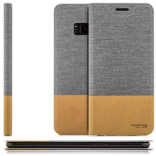 Preisvergleich Produktbild zanasta Tasche kompatibel mit Samsung Galaxy S8 / Hülle Slim Handytasche Schutzhülle mit Kartenfach,  Standfunktion / Grau