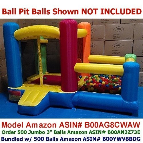 "My Bouncer Little Castle 88"" L x 118"" W x 72"" H Bounce House Bopper w/ Built-in Ball Pit; Hoop & Step ( Required Minimum 500 pcs Jumbo 3"" Balls, Large Floor Space Required !!! )"
