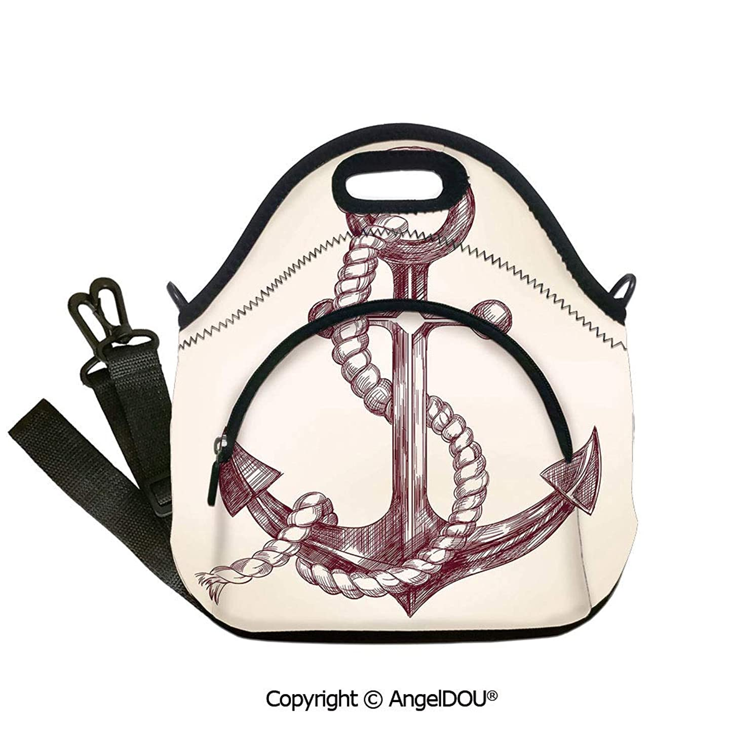 AngelDOU Anchor Fashoniable Work Lunch Bags Realistic Hand Drawn Sketch Marine Vintage Design Sails Yacht Boat Cruise Decorative for women Portable Insulated lunch box bag.12.6x12.6x6.3(inch)