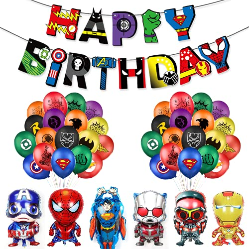 Decoracion Cumpleaños Superheroes Globos de Superhéroe Feliz Cumpleaños del Pancarta Superheroes Adornos de Pastel Superhéroe Marvel Cumpleaños Decoracion (C)