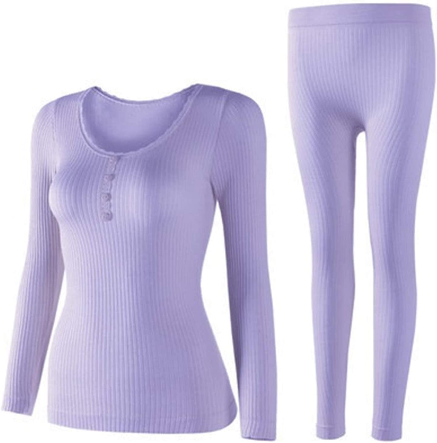 DZHT O-Neck Women Cotton Thermal Underwear Clothing Cotton Thermo for Female Thermal Sets Warm Suit Solid Color Intimates (Color : Light Purple, Size : (40 65) kg)