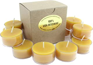 Beeswax Candle Works - 6 Hour Tea Lights 60-Pack - Clear Cups - 100% USA Beeswax