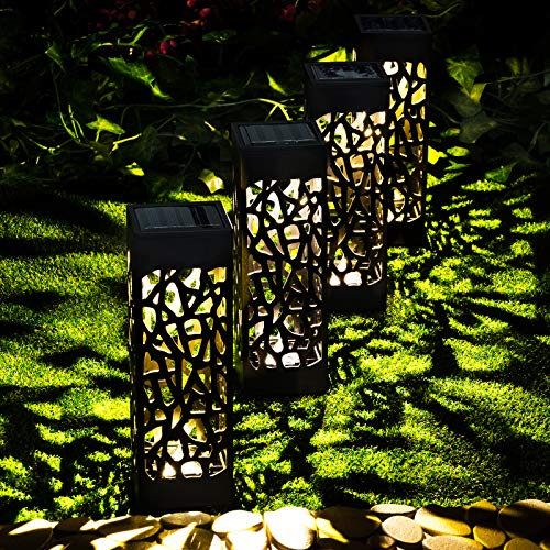 GloBrite 4 Solar Hollow Pathway Garden Stake Lights - Outdoor Waterproof Decorative Landscape Border Yard Patio Lights