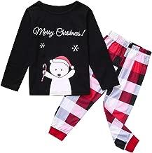 Cenglings Matching Family Christmas Pajamas Set Womens Mens Boys Girls Kids Reindeer Top & Plaid Pants Sleepwear