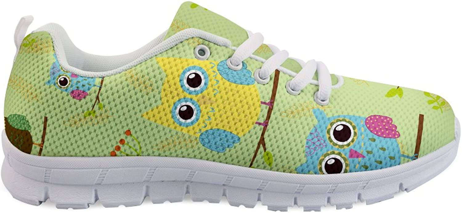 FOR U DESIGNS Women Girls Fashion Sneakers Breathable Mesh Running shoes Cute Owl Printed Lace-up Flats