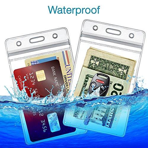 ID Badge Card Holder, Double Sided Vertical Clear Vinyl ID Pass Holder Bulk Kit. Heavy Duty PVC Plastic Resealable Waterproof Versatile Name Badge Holder, Pack of 10 (10)