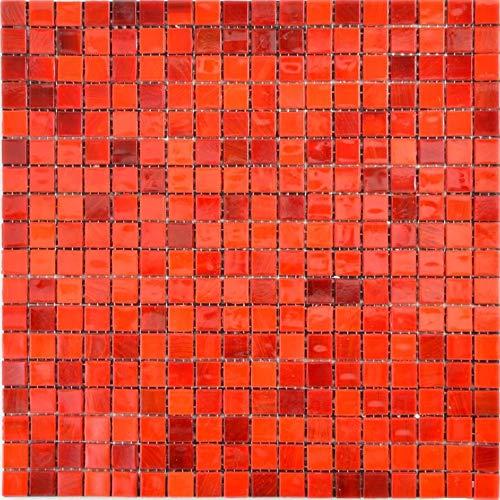 Glas Glasmosaik rot Wand Boden Küche Dusche Bad Fliesenspiegel WB58-0009 1Matte