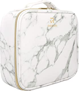 Relavel Marble Makeup Bag Makeup Organizer Bag Travel Train Case Portable Cosmetic Artist Storage Bag with Adjustable Divi...