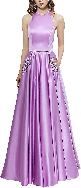 Awishwill Elegant Halter Long Satin Prom Evening Dress Ladies Off Shoulder Formal Party Gowns