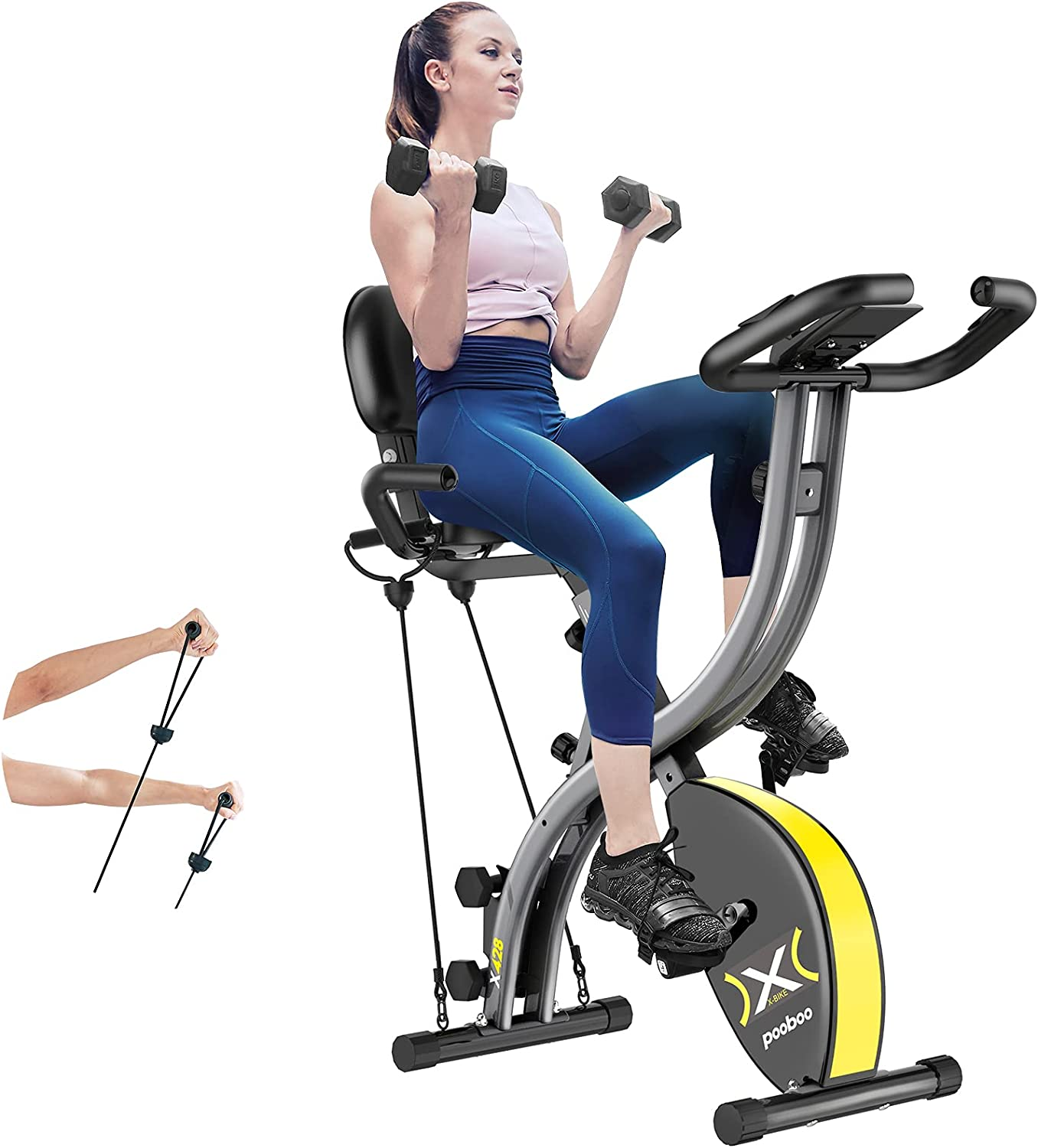 pooboo Folding Magnetic Exercise Fold Jacksonville ! Super beauty product restock quality top! Mall Resistance Adjustable Bike