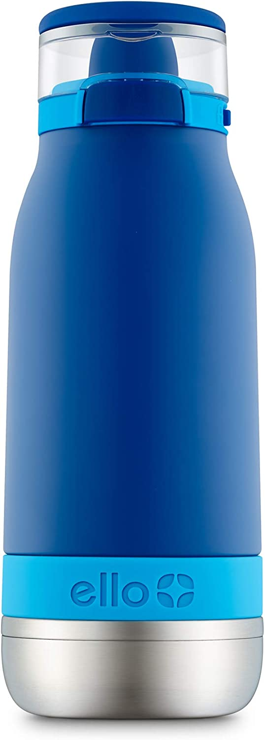 Ello Emma Vacuum Insulated Stainless Steel Kids Water Bottle with Anti-Microbial Straw