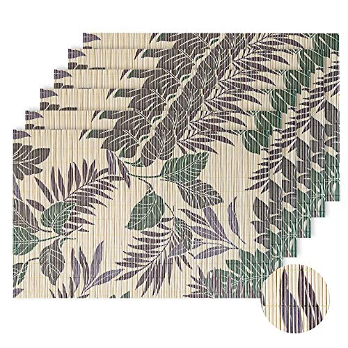 LOVECASA Bambus Platzset, 45 x 30 cm, 6-TLG. Set Tischmatte, Rechteckig Tischset