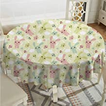 Lauren Russell Outdoors Round Tablecloth Anime Funny Bunnies Clouds and Bones Pattern Doodle Kawaii Illustration Pale Green Pale Pink Seafoam Wrinkle Free Tablecloths Diameter 54