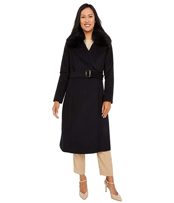 1920s Coats, Furs, Jackets and Capes History Cole Haan Slick Wool Wrap Coat with Faux Fox Collar Black Womens Clothing $398.00 AT vintagedancer.com