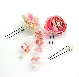 [ミッシュキッシュ]髪飾り Uピン かんざし 丸バラと小花とパールのUピン3本セット 4517-578