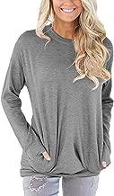 kaifongfu Women Tops, Casual Long Sleeve Cotton Solid Loose Pockets T-Shirt Blouses