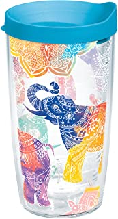 Tervis Mehndi Elephants Tumbler with Wrap and Turquoise Lid 16oz, Clear
