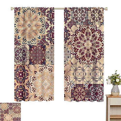 Blackout Curtains for Living Room- Decorative Curtains for Living Room Antique Morroccan Art Energy Saving Set of 2 Panels W55 x L72
