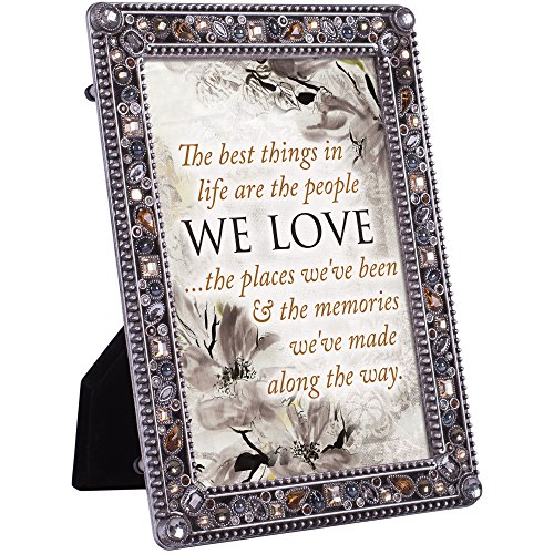 Cottage Garden People Love Places and Memories Jeweled Pewter Colored 5 x 7 Easel Back Photo Frame
