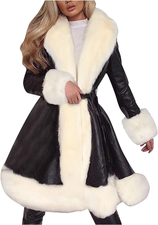 VEKDONE Women Faux Fur Pu Leather Fleece Lined Warm Quilted Moto Jacket Fur Coat Winter Long Peacoat Outwear
