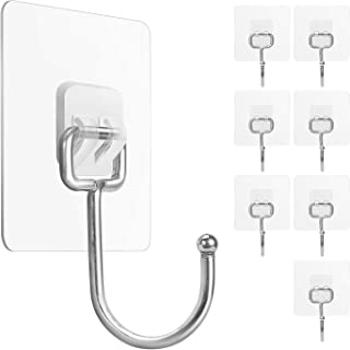 Large Adhesive Hooks 22Ib(Max), Waterproof and Rustproof Wall Hooks for Hanging Heavy Duty, Stainless Steel Towel and Coat...