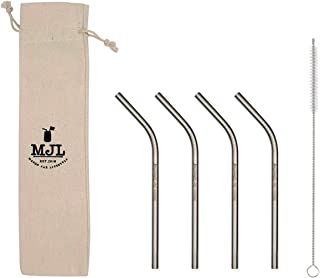 Short Thin Bent Stainless Steel Straws for Cocktail Glasses, Kids, Small Cups, or Half Pint Mason Jars (4 Pack + Cleaning Brush + Cloth Bag)