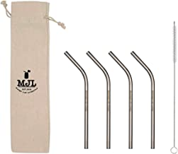 Short Thin Bent Stainless Steel Straws for Cocktail Glasses, Kids, Small Cups, or Half Pint Mason Jars (4 Pack + Cleaning ...