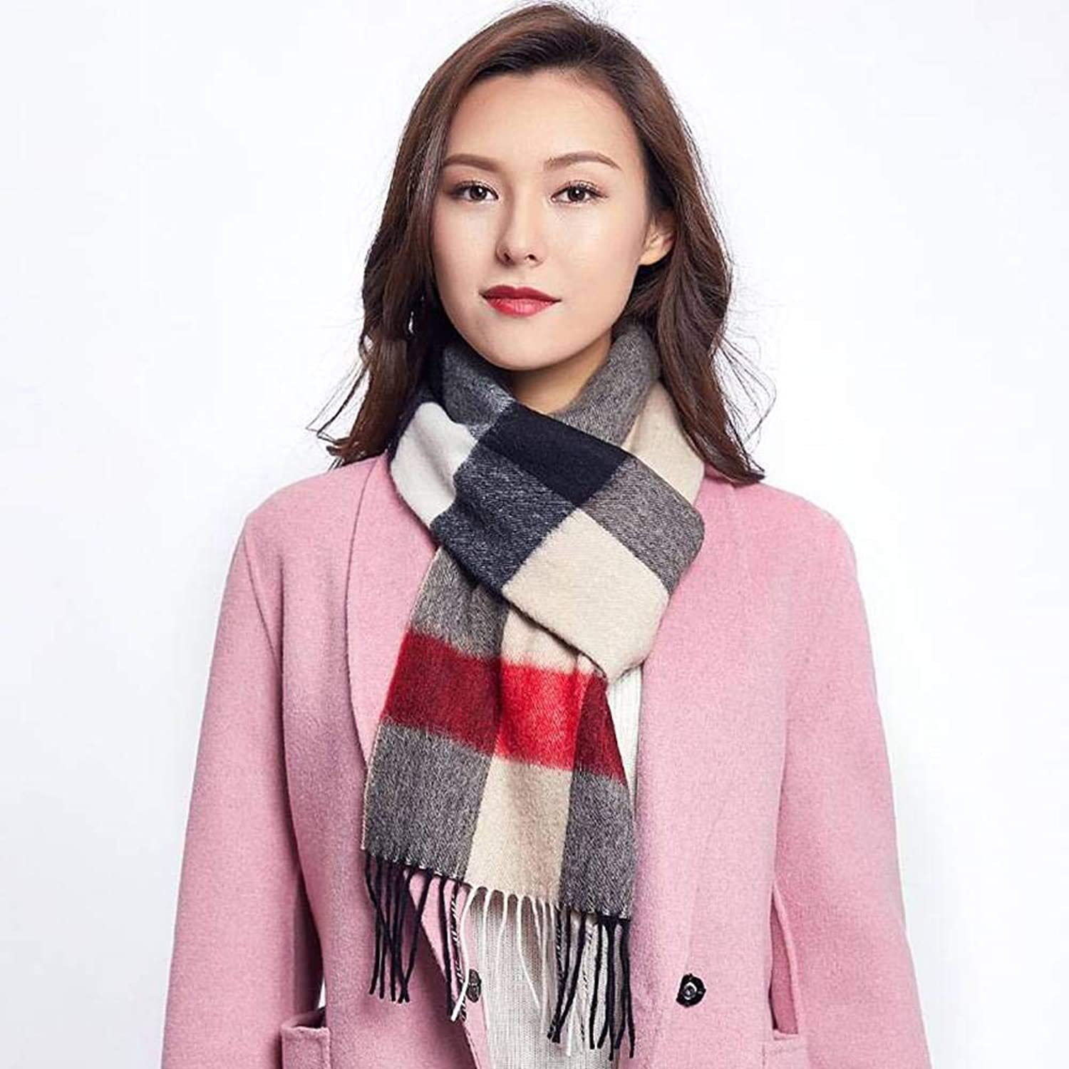WJL Sweet Plaid Imitation Cgreymere Women Warm Geometry Scarf Autumn and Winter Outdoor MultiFunctional Fgreyion Trend Wild Warm Shawl Scarf Gift