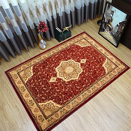 Tapiso YESEMEK Teppich Klassisch Kurzflor Orientalisch Teppiche in Rot Beige Gemustert Floral Ziegler Ornament Bordüre Barock Design Orientteppich Wohnzimmer ÖKOTEX 200 x 400 cm