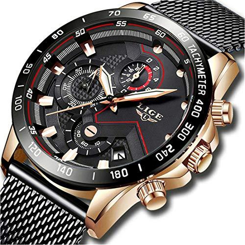 Relojes Hombre Moda Relojes de para Hombres con Casual Impermeable Cuarzo Ocasional Reloj para Hombre Acero Inoxidable Malla Banda
