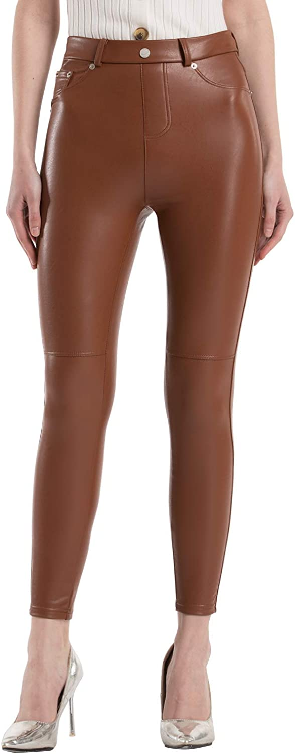 Tagoo Faux Leather Leggings for Women High Waisted Pleather Pants Stretch Tights with Pockets