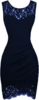 Women's Bodycon Sleeveless Little Cocktail Party Dress with Floral Lace
