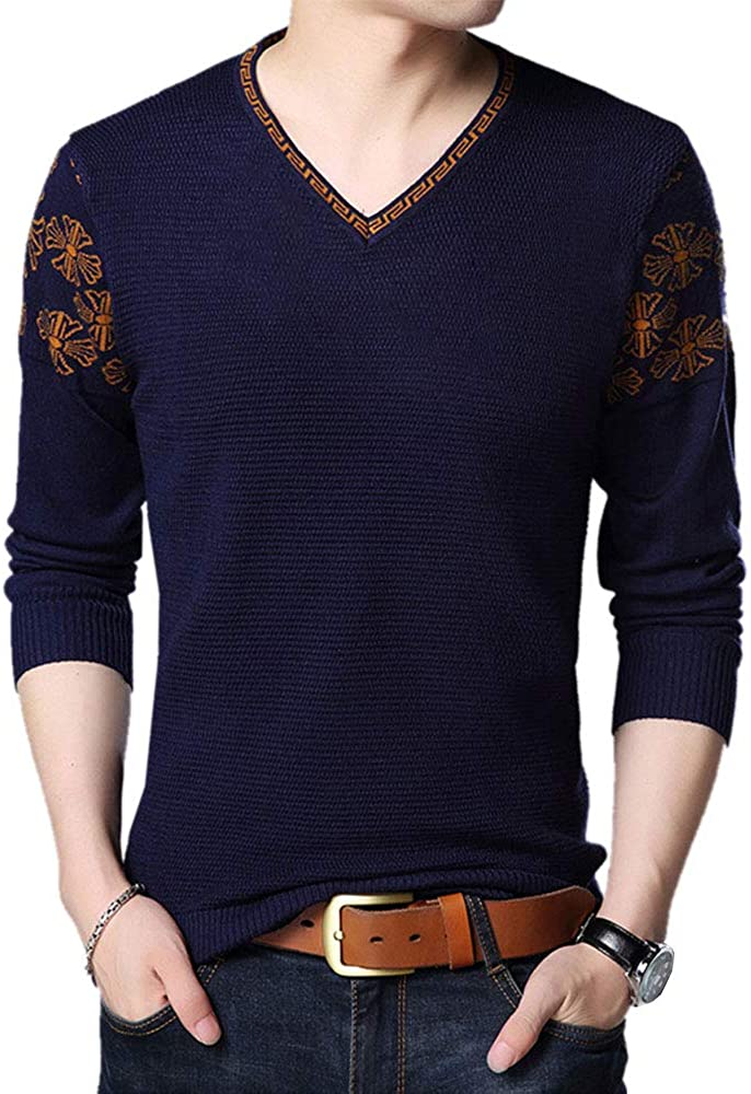 Men's Jacquard Classic Fit V Neck Soft Casual Knitwear Jersey Sweater