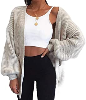 Macondoo Women's Puff Sleeve Sweaters Warm Coat Open Front Knitting Cardigans