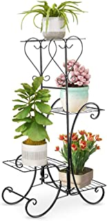 Ejoyous - Estantería de Metal para macetas, 4 Pisos, decoración para balcón, Escalera para Flores, Escalera Decorativa para macetas, Vintage, 84 x 48 x 25 cm, Color Negro