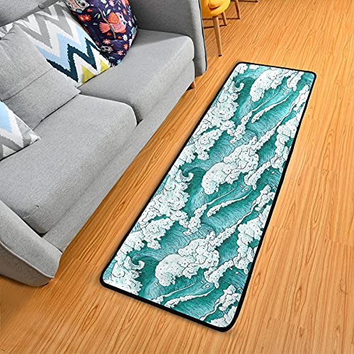 OTVEE Aqua Japanese Style Ocean Waves Rug Runners 2x6 Laundry Room Rug Runner with Rubber Backing Non Slip Kitchen Rugs and Mats for Hallways Bathroom Indoor Bedroom