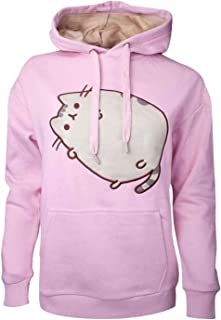 Pusheen Hoodie Embroidered Outline Logo Official Womens Pink Pullover S
