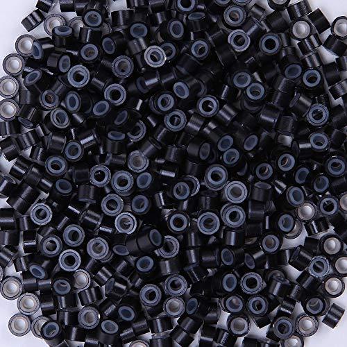 Elailite Microring per Extension 500 Pezzi in Silicone 5mm Micro Anelli Allineato Collegamento Link Lined Beads per I Tip Extension Capelli Veri Cheratina Accossori, Nero
