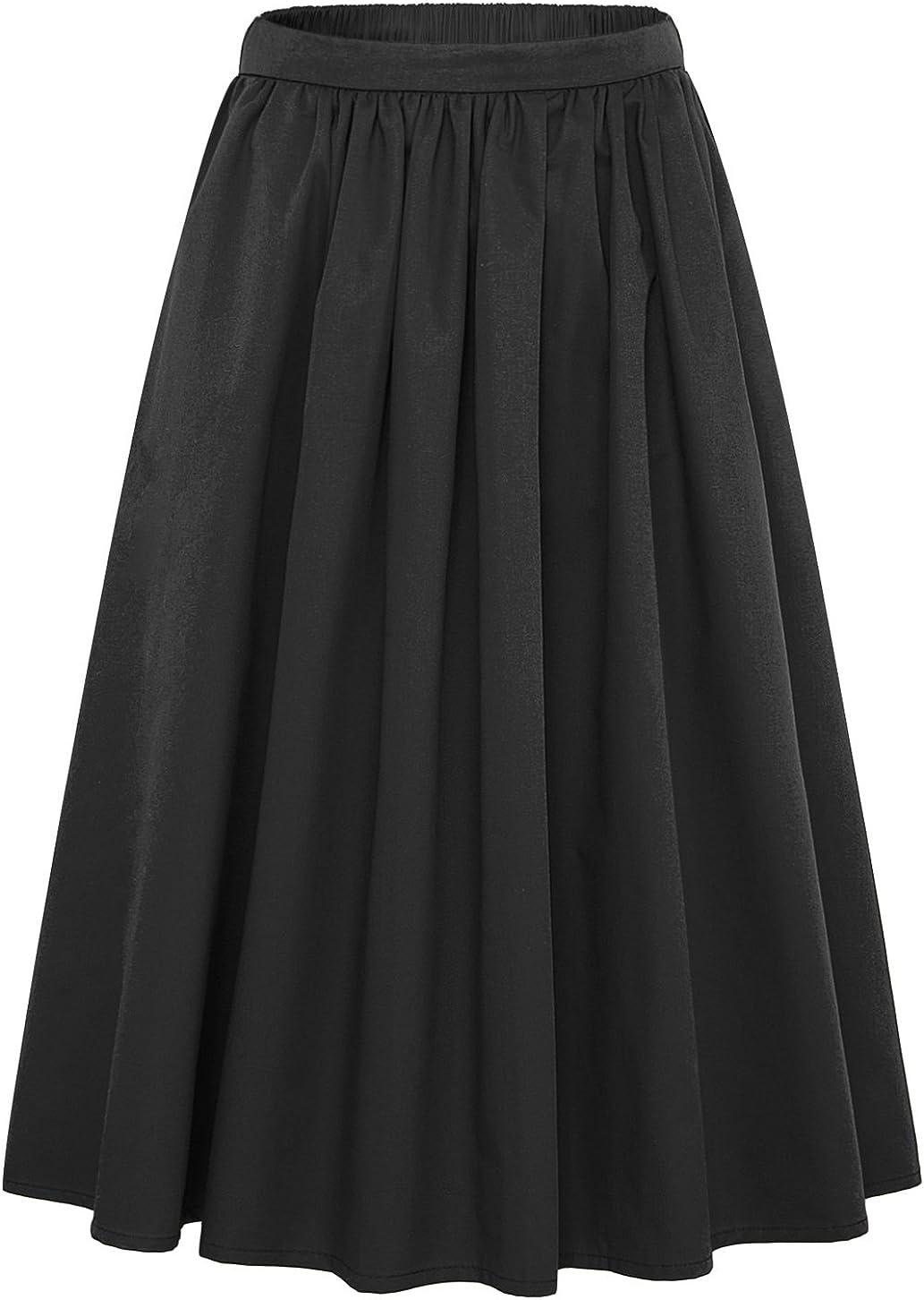chouyatou Women's Simple Back Elastic Waist A-Line Flared Midi Skirts-Pocket