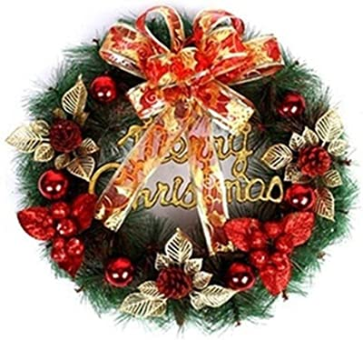 Tvoip 1Pcs Style Random Christmas Wreath Round Handcrafted Christmas Elegant Holiday Wreath Pine Wreath Door Wall Garland Decoration (Red)