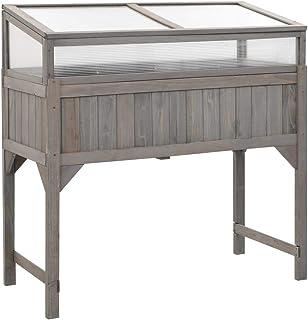 vidaXL Fir Wood Raised Garden Bed with Greenhouse Weather-resistant Rustic Durable Wooden Patio Outdoor Bed Pot Planter Fl...
