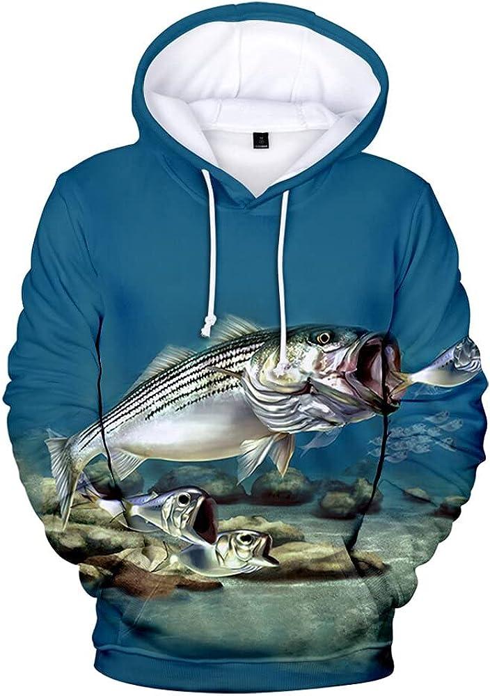 Overseas parallel import regular item DIUNAXING Digital Fish Hoodie 3D Tracksuit Long Men Women Sleeve Fashion