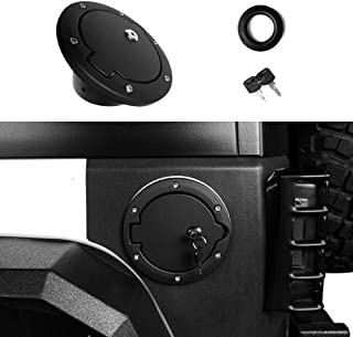 Locking Gas Cap, Semtion Fuel Tank Door for Jeep Wrangler JK JKU Rubicon Sahara Unlimited Willy Sport 2007-2018